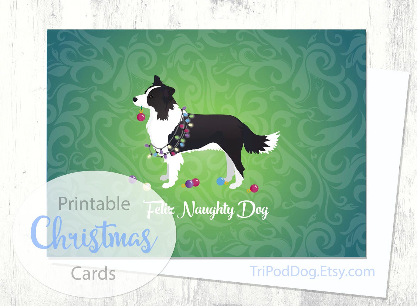 Border Collie Christmas Card Digital Download Printable | Etsy