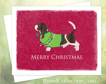 Basset Hound Christmas Card from the Breed Collection - Digital Download Printable