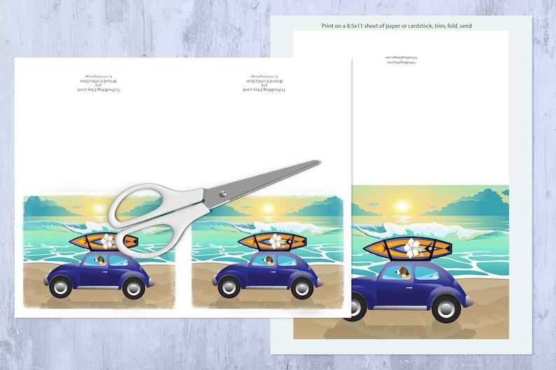 Digital Download Printable American Foxhound Beach Scene Greeting Card