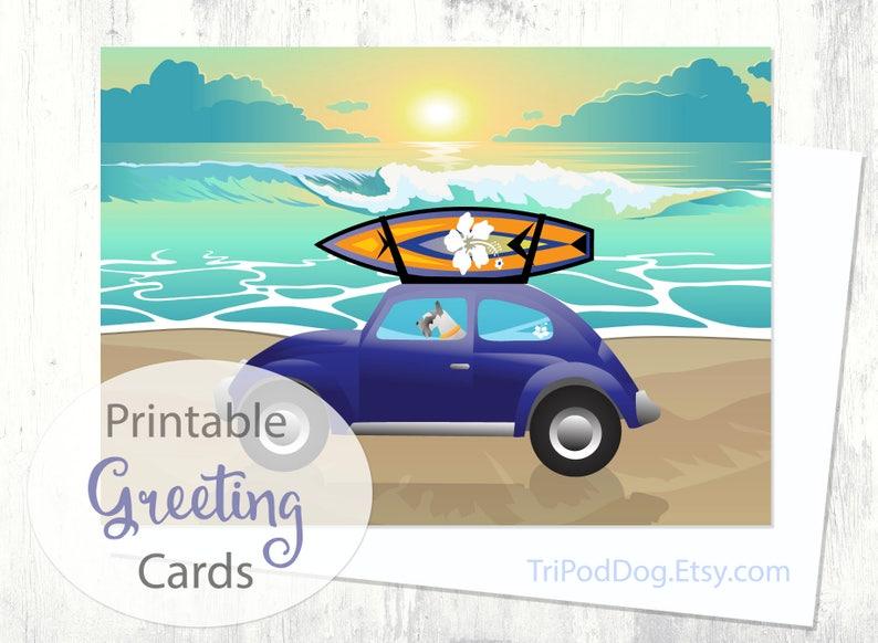 Digital Download Printable Schnauzer Beach Scene Greeting Card