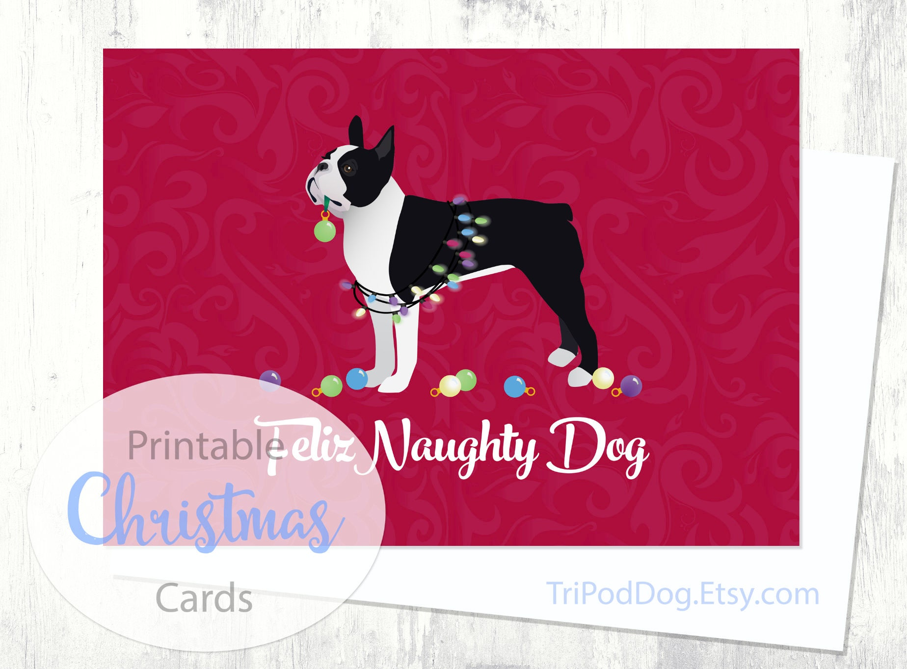 Boston Terrier Black Dog Christmas Card from the Breed | Etsy