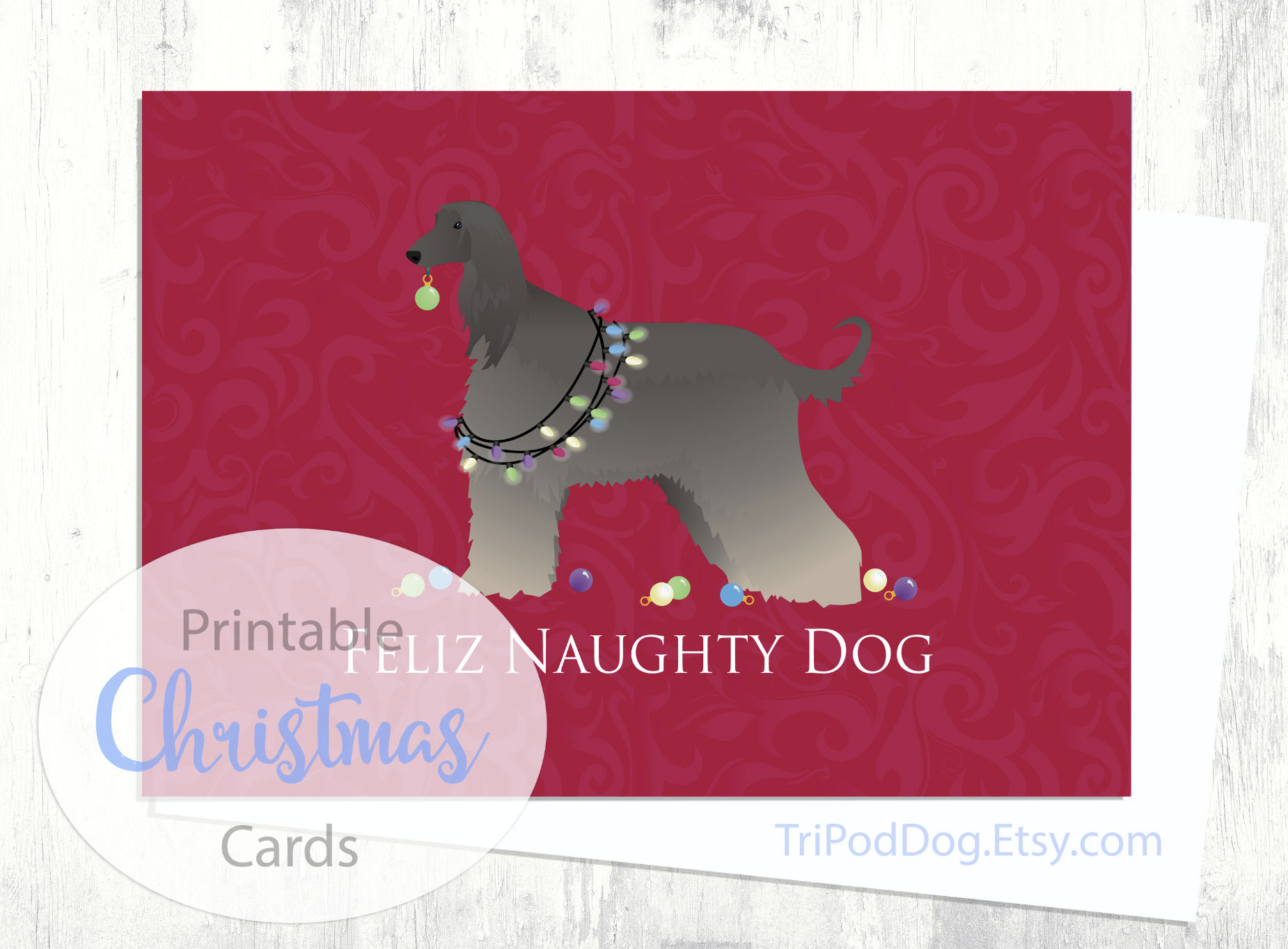 Afghan Hound Dog Christmas Card Digital Download Printable