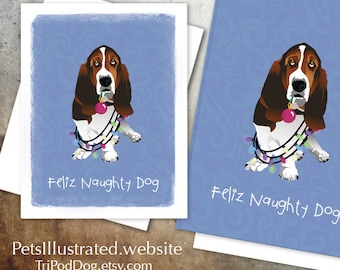 Basset Hound dog Christmas Card - Digital Download  Printable