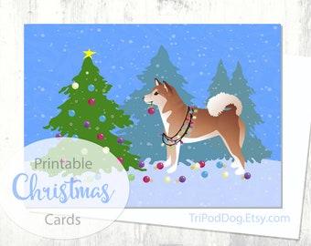 Red Shiba Inu Dog Christmas Card - Christmas Forest - Digital Download Printable
