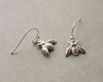 Silver Bee Earrings Dangle - Small Bumble Bee Earrings - Drop Honey Bee Charm Jewelry - Animal Earrings - Birthday Gifts For Women For Her
