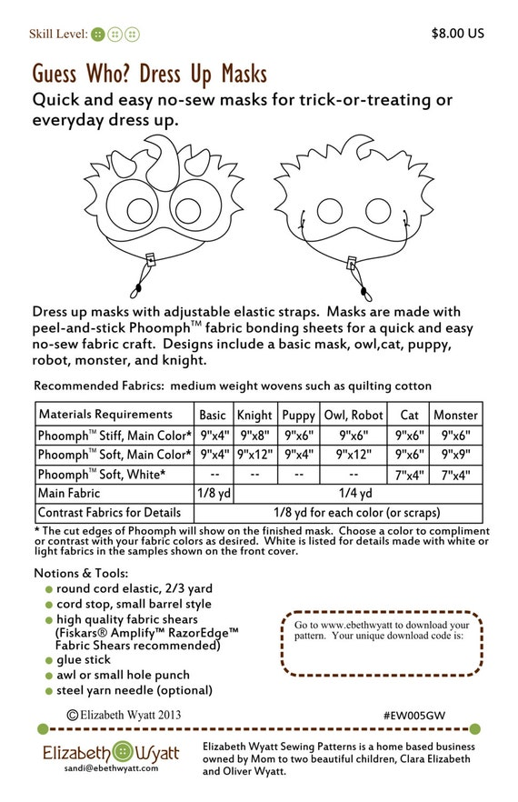 Guess Who Dress Up Mask Pattern No Sew Fabric Craft | Etsy