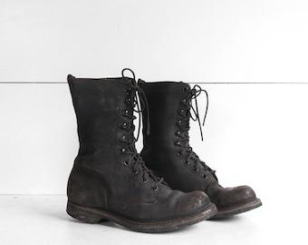 0c28ed29c1bd 3.5 XW Vintage Military Deck Boots Short Black Leather Steel