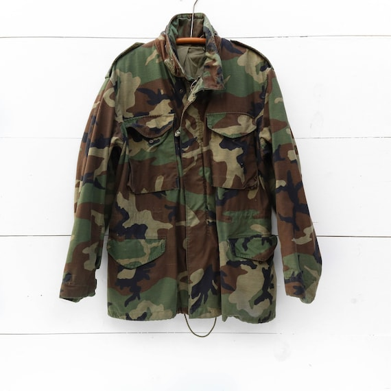 MED | Vintage Military M65 Jacket in Woodland Camo