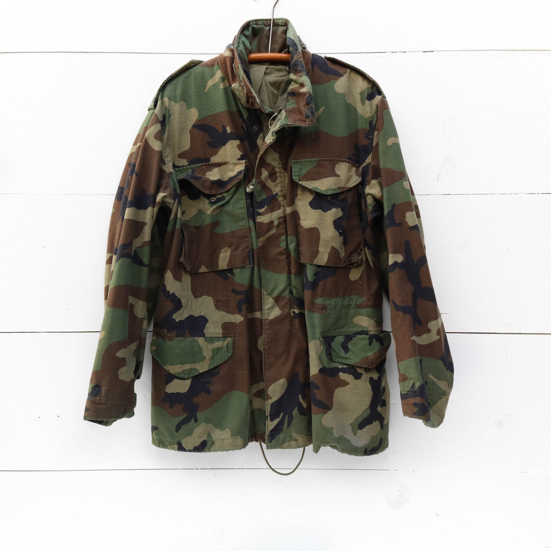 330f70cfdaf MED Vintage Military M65 Jacket in Woodland Camouflage Print