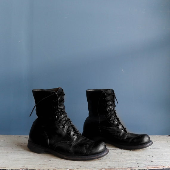Vintage 1960s Combat Boots Black Leather Military… - image 2