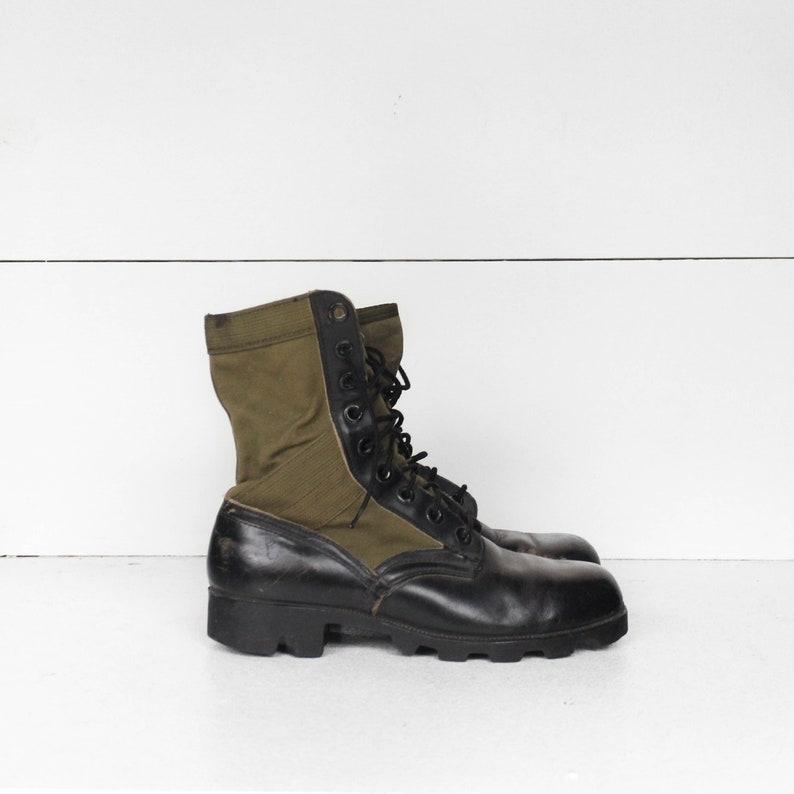 7 W (Wide)   Vintage Vietnam Era Jungle laarzen zwart en groen militaire bestrijden laarzen