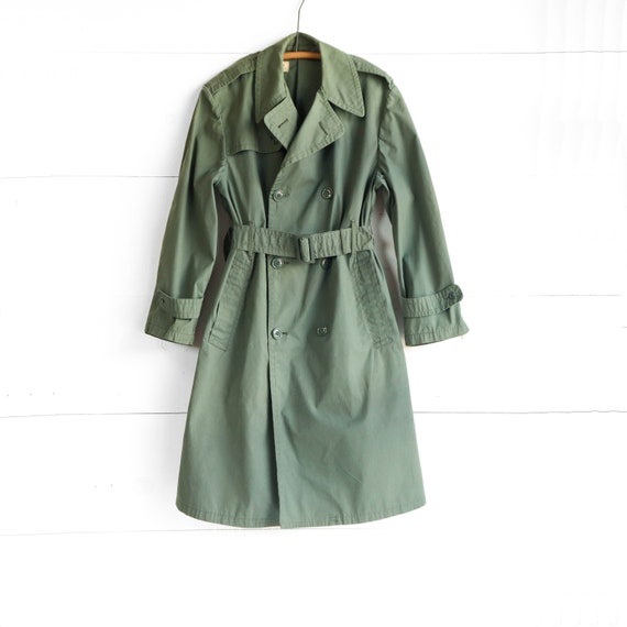 Vintage Military Trench Coat in Olive Green