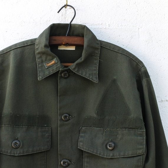 MED   1960s OG Military Fatigues Button Up Long Sl