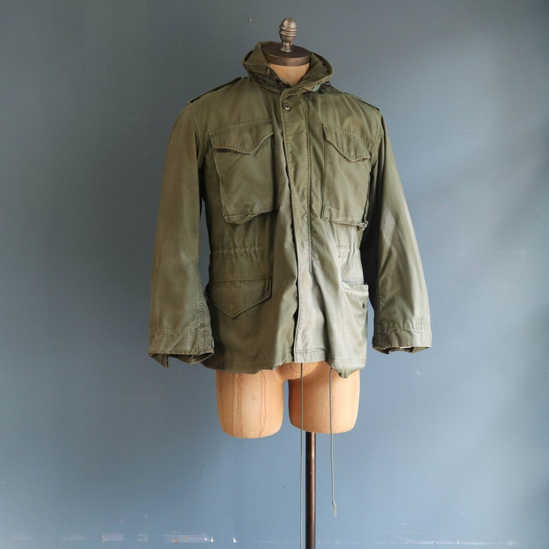 free shipping 8059f 72f17 Faded Alpha Industries M65 Field Jacket Late 1970's Olive Green Military  Jacket with Liner