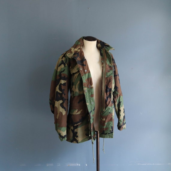 Vintage 80s Woodland Camouflage M65 Field Jacket