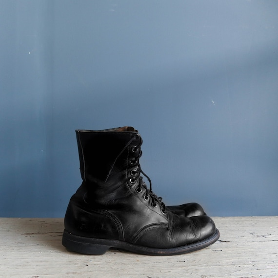Vintage 1960s Combat Boots Black Leather Military… - image 1