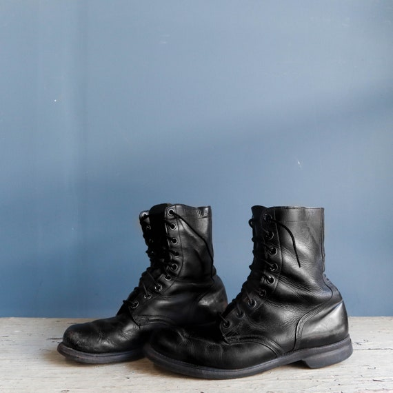 Vintage 1960s Combat Boots Black Leather Military… - image 4