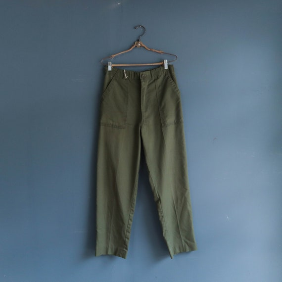 Vintage Military Trousers Olive Green OG 107 Slack
