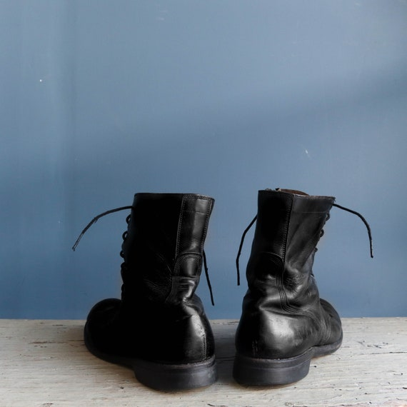 Vintage 1960s Combat Boots Black Leather Military… - image 5