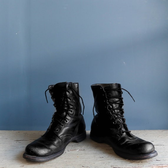 Vintage 1960s Combat Boots Black Leather Military… - image 3