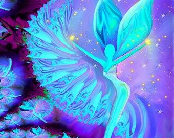 "Angel Art, Blue and Violet Wall Decor, Reiki Energy ""Conscious Creation"""