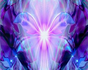 "Crown Chakra Art, White Violet Print  ""Nirvana"""
