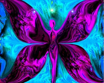 Butterfly Goddess Energy Art, Fuchsia Blue Abstract Art Wall Decor