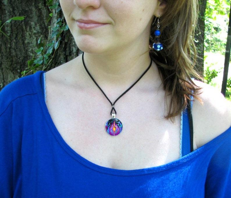Violet Flame Angel Necklace Reiki Energy Pendant Chakra Jewelry Transmutation