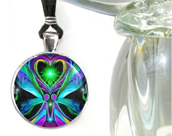 """Twin Flames Necklace, Soulmate Love, Angel Hearts, Reiki Energy """"Unconditional Love"""""""