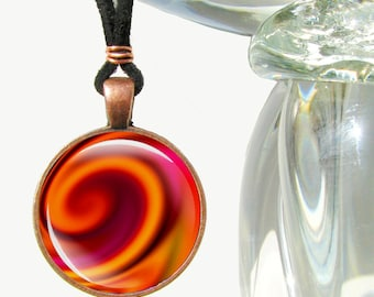 "Chakra Pendant, Orange Swirl Necklace, Reiki Jewelry ""Metamorphosis"""