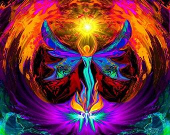 "Reiki Angel Art,  Spiritual  Energy Art Print ""Phoenix Rising"""
