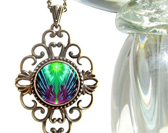 """Psychedelic Art, Boho Jewelry, Hippie Necklace, Bohemian Pendant """"Spreading New Wings"""""""