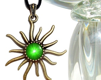 Heart Chakra Pendant, Green Jewelry, Reiki Attuned Sun Necklace