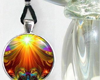 "Unique Wearable Art Jewelry, Orange Chakra Necklace, Reiki Pendant ""Light Being"""