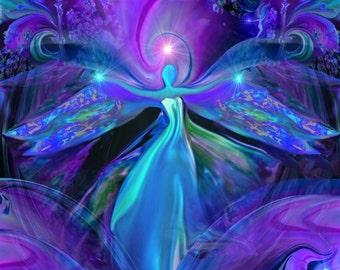 "Third Eye Art, Purple Chakra Meditation Room Wall Decor, Reiki Energy ""The Seer"""