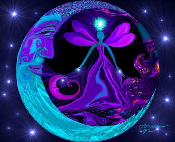 Moon Stars Fairy Art, Blue Purple Decor, Angel Energy Print