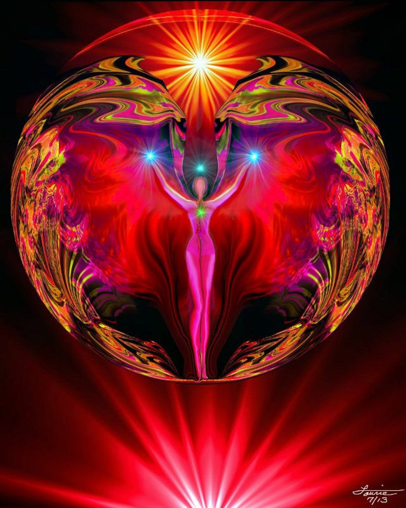 Red Root Chakra Art, Angel Energy, Reiki Attuned