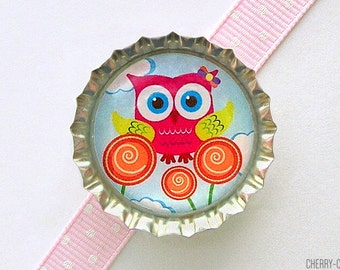 Owl Magnet, Bottle Cap Magnet, valentine's gift, fridge magnet, owl baby shower favor, girl owl party favor, owl decor, valentine's kids
