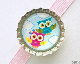 Owl Magnet, Bottle Cap Magnet, fridge magnet, owl baby shower favor, girl owl party favor, owl decor, owl birthday party favors, boy baby