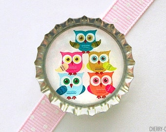 Owl Magnet, Bottle Cap Magnet, owl theme party, fridge magnet, owl baby shower favor, girl owl party favor, unique owl decor, organization