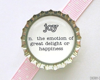 Joy Definition Magnet, Bottle Cap Magnet, dictionary art magnet, stocking stuffer, secret santa gift, kitchen organization, fridge magnet