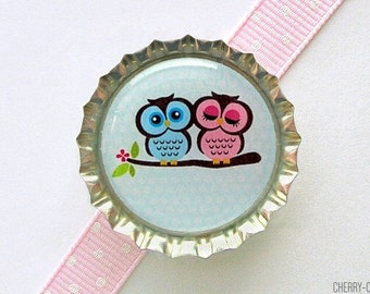 Owl Magnet, Bottle Cap Magnet, valentine's gift, for valentines day, fridge magnet owl baby shower favor, girl owl party favor, owl decor