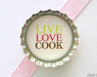 Live Love Cook Bottle Cap Magnet - kitchen organization, kitchen decor, chef gift, for chef, kitchen gifts, fridge magnets, art magnets