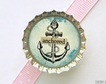 Anchor Bottle Cap Magnet - anchor magnet, nautical magnet, nautical decor anchor, nautical kitchen decor, nautical home decor, fridge magnet