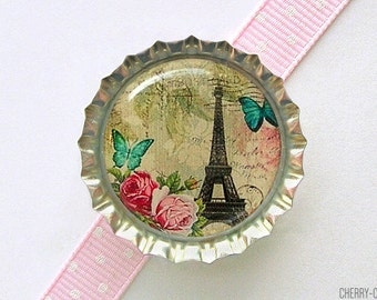 Eiffel Tower Bottle Cap Magnet, kitchen organization, paris theme party favors, paris magnets, paris decor, eiffel tower decor, french decor