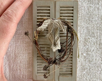 Dollhouse Miniature Chippy Shutters And Twig Wreath- One Inch Scale