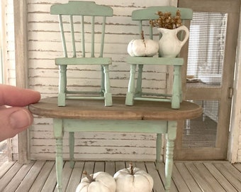 Dollhouse Miniatures Dining Table Set- One Inch Scale