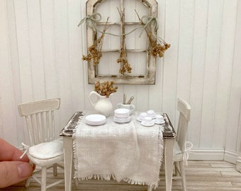 Dollhouse Miniature Farmhouse Dining Table, Tablecloth, And Two Chairs- One Inch Scale