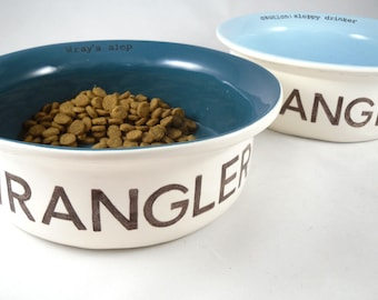 custom dog bowls, set of 2 bowls 14 colors - PERSONALIZED FOR PET large or small personalized dog food dish dog water bowl cat food dish