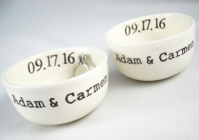 Bride and Groom wedding gift idea couple christmass gift for the newly weds Set of 2 Matching Custom Ceramic Ring Holders for the Mr /& Mrs